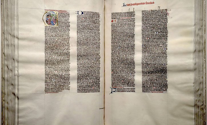 Here is a photo of the Giant Bible of Mainz: This illuminated manuscript was