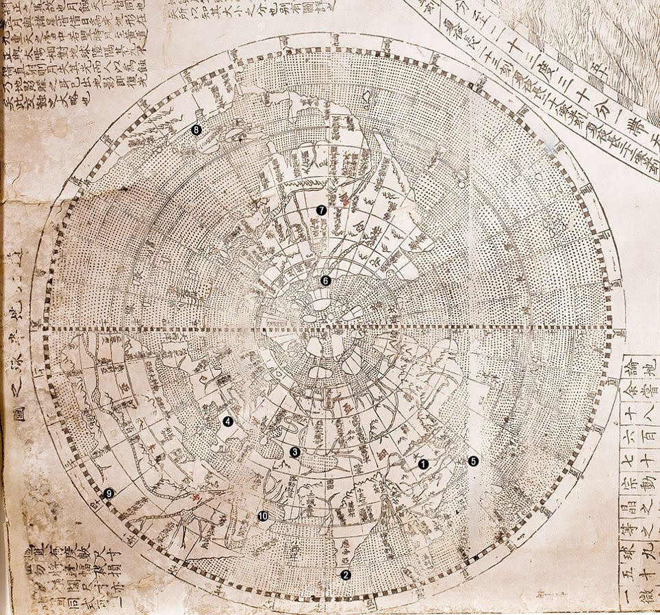 Rabid fun matteo riccis world map printed on rice paper the map was designed to be mounted in six sections on a folding screen gumiabroncs Gallery