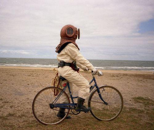 Diver on bike